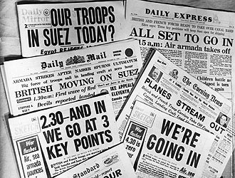Suez Crisis 1956 British newspapers