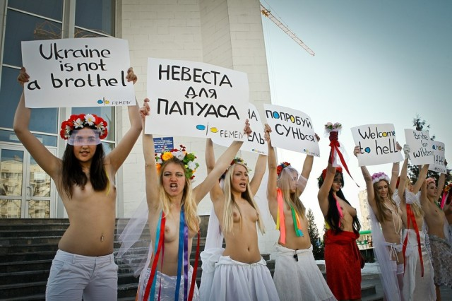 The FEMEN woman movement held an action called Brides for the Papuans. Ukraine, 01/03/2011