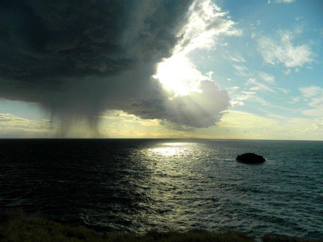 sun rain sea Lipari
