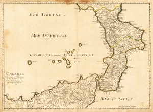 Aeolian Islands old map