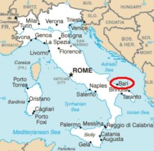 Bari on Italy map