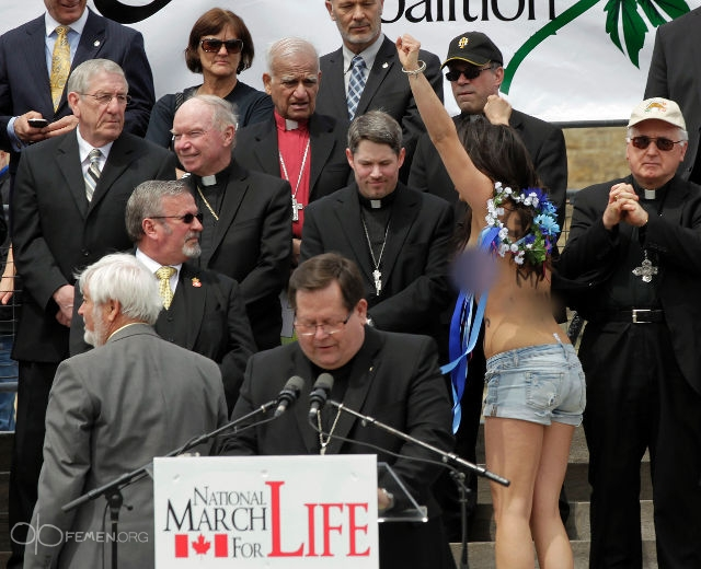 Canada March for Life Femen protest