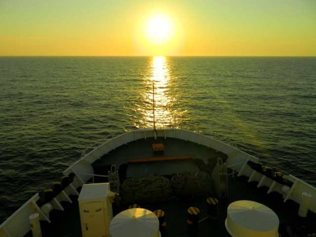 ferry into sunset