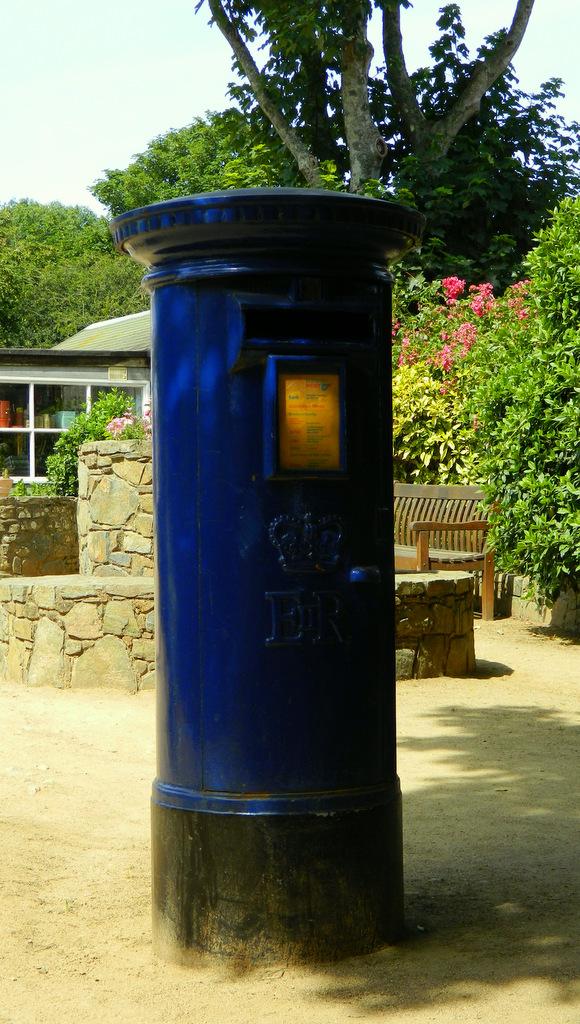 blue postbox Sark