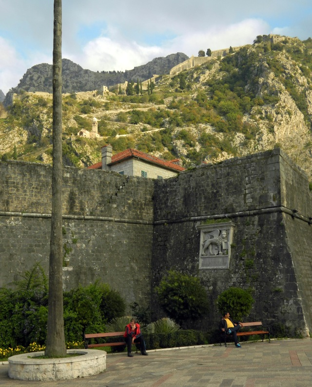 Kotor city walls with view of the fortress
