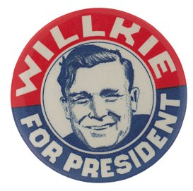 Willkie for President button