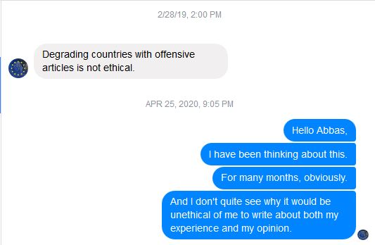 degrading countries with offensive articles is not ethical