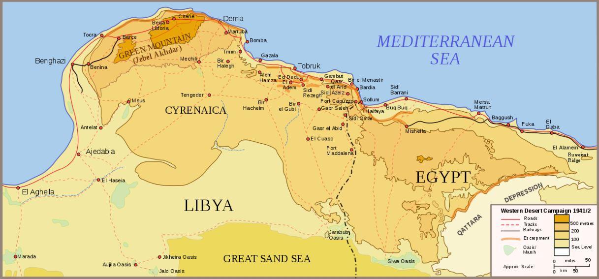 Qattara depression battle map EN